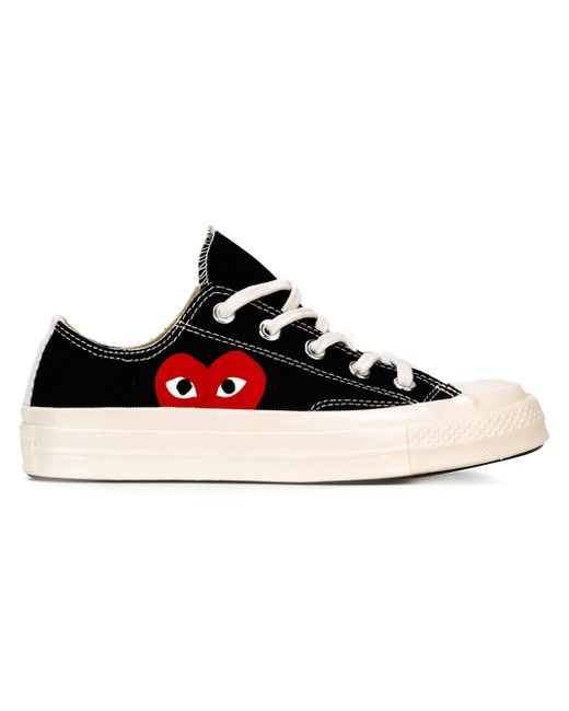 Play Comme des Garçons | Red Large Emblem Low Top Canvas Sneakers | Lyst