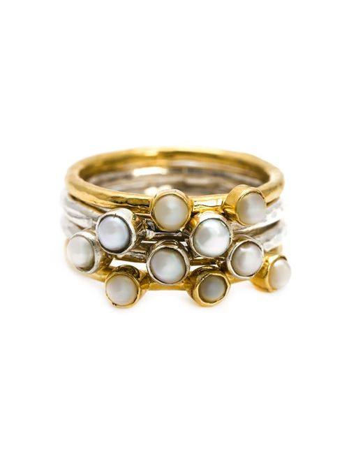 Henson | Metallic Pearl Stacker Ring | Lyst