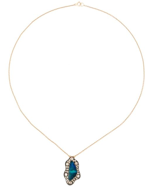 Monan | Blue Aquamarine And Diamond Pendant Necklace | Lyst