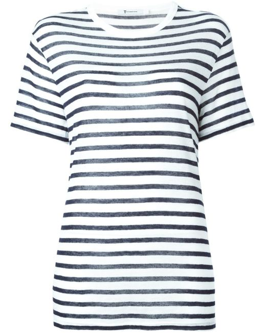 T By Alexander Wang | White Striped Linen And Cotton-Blend T-Shirt | Lyst
