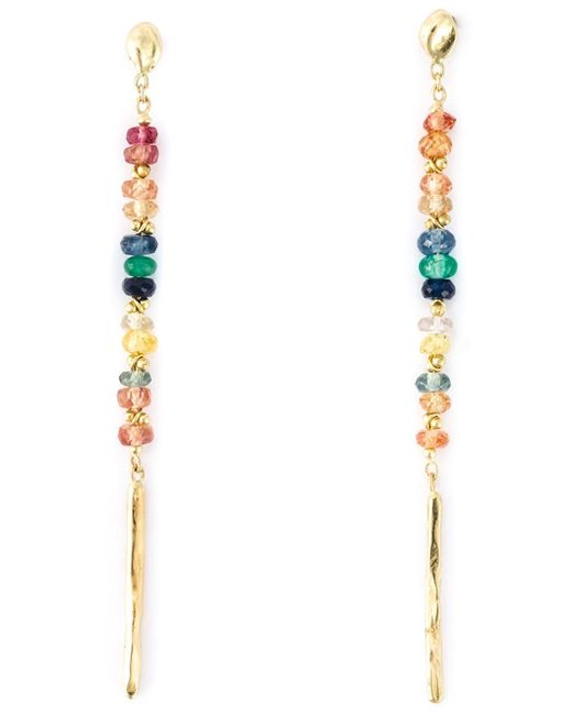 Natasha Collis | Metallic Rainbow Sapphire Drop Rod Stud Earrings | Lyst