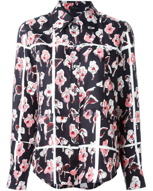 Marc Jacobs | Black - Floral Print Shirt - Women - Silk - 8 | Lyst