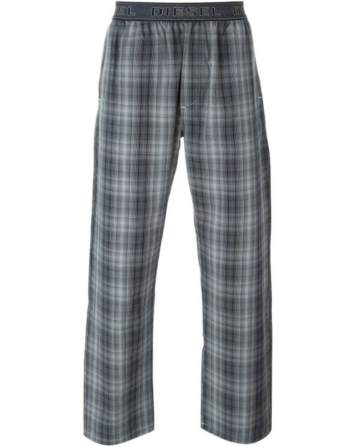 DIESEL | Gray Check Print Pyjama Trousers for Men | Lyst
