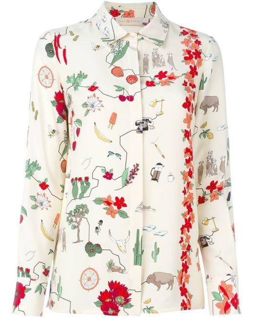 Tory Burch | Multicolor Dalton Printed Silk Crepe De Chine Shirt | Lyst