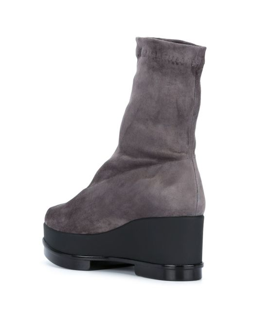 robert clergerie suede wedge boots in gray grey save
