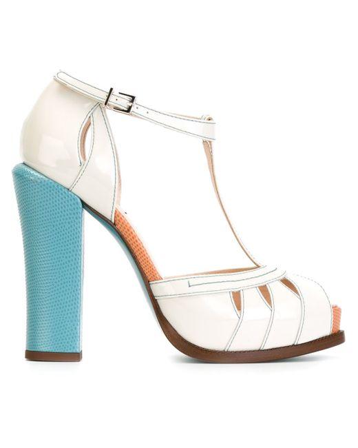 fendi chunky heel sandals in white lyst