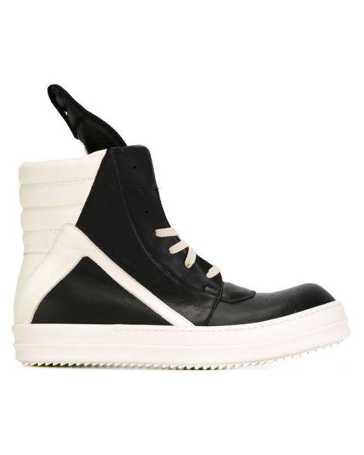 rick owens 39 geobasket 39 hi top sneakers in black lyst. Black Bedroom Furniture Sets. Home Design Ideas