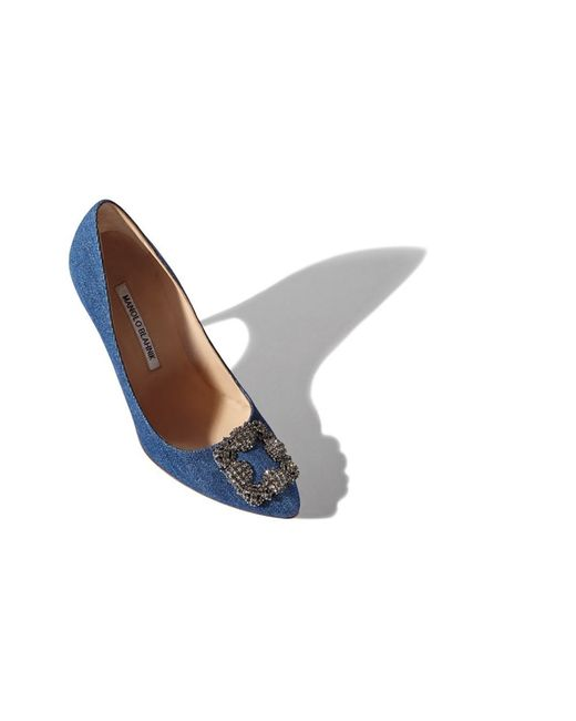 Manolo Blahnik | Blue 'hangisi' Pointy Toe Pump | Lyst