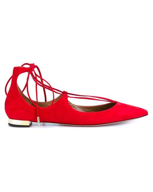Aquazzura | Red - 'christy' Ballerinas - Women - Leather/rubber - 40 | Lyst