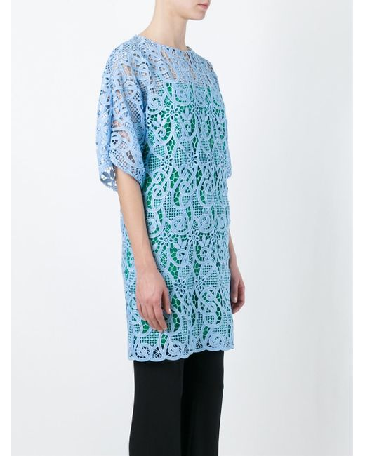 Vionnet embroidered lace dress in blue save lyst