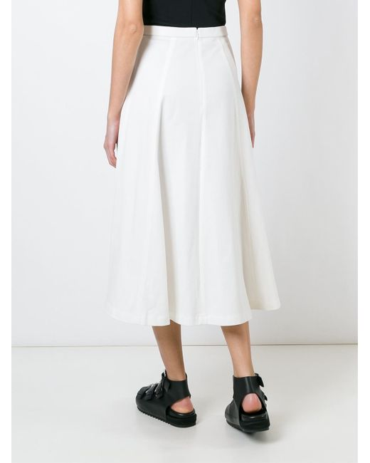 t by wang white cotton a line skirt in white lyst