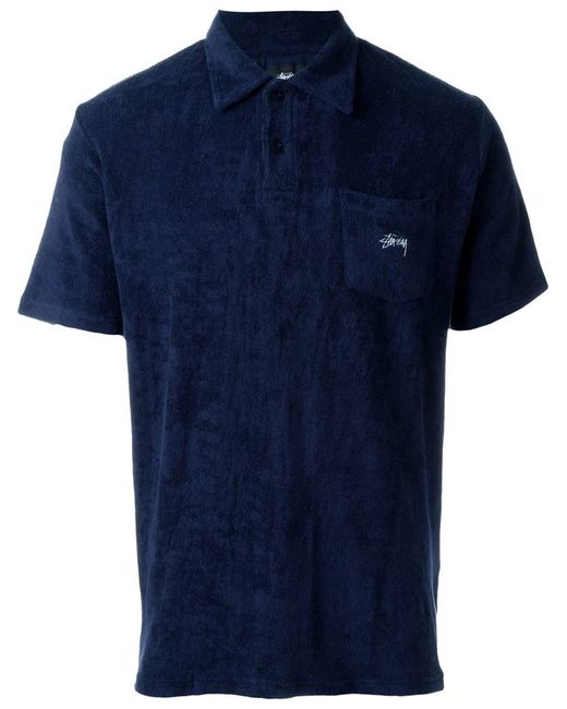 Stussy 39 terry 39 polo shirt in blue for men lyst for Mens terry cloth polo shirt