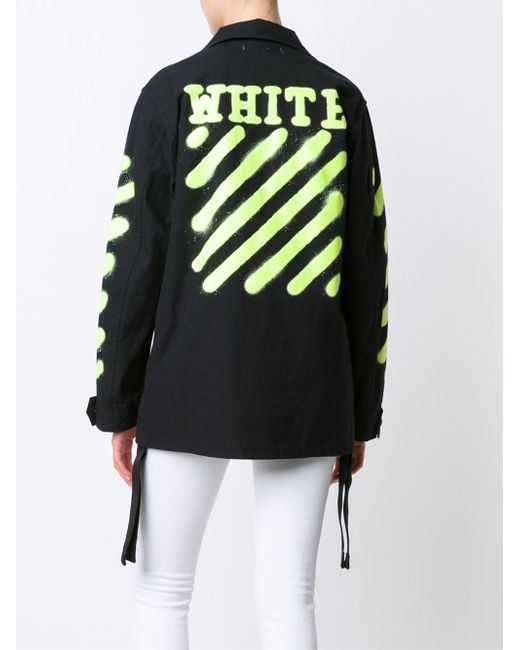 off white c o virgil abloh spray paint cotton cargo jacket in black lyst. Black Bedroom Furniture Sets. Home Design Ideas