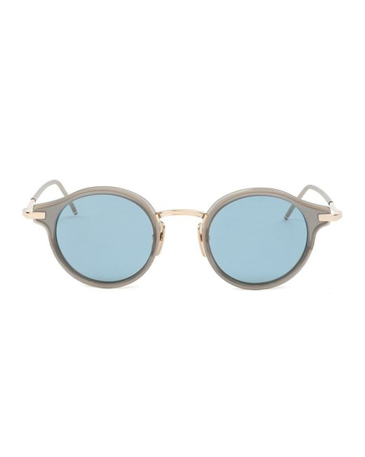 Men s Round Gold Frame Glasses : Thom browne Round Frame Sunglasses in Gold for Men (BLUE ...