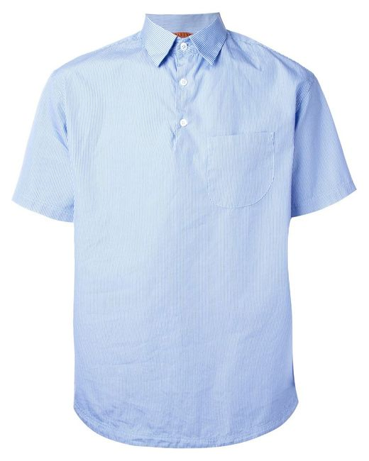 barena pinstripe short sleeve button down collar shirt in