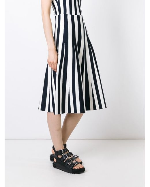 wang striped a line skirt in black white lyst
