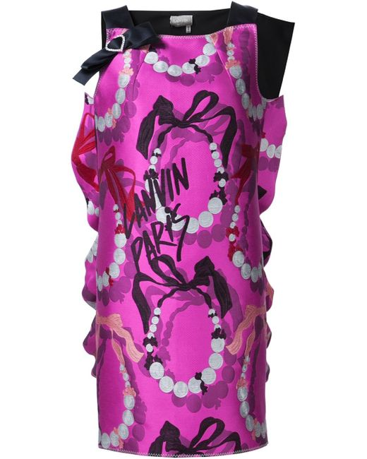 Lanvin | Natural Bow Detail Printed Dress | Lyst