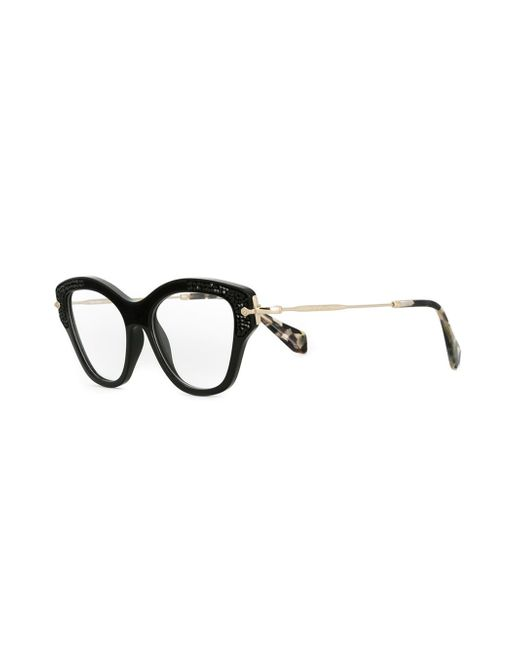 miu miu cat eye glasses in black lyst