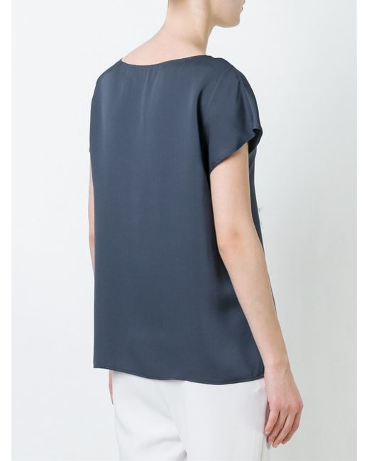 Theory Boat Neck Silk T Shirt In Blue Save 20 Lyst