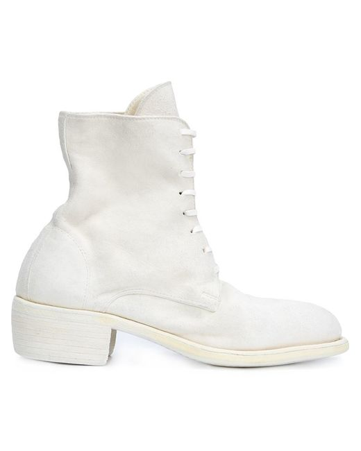 guidi combat boots in white lyst