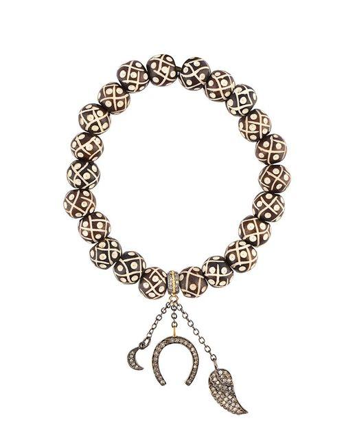 Loree Rodkin | Metallic Bead Diamond Ball And Feather Bracelet | Lyst