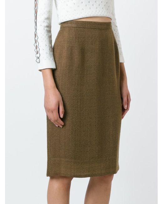prada classic pencil skirt in brown lyst