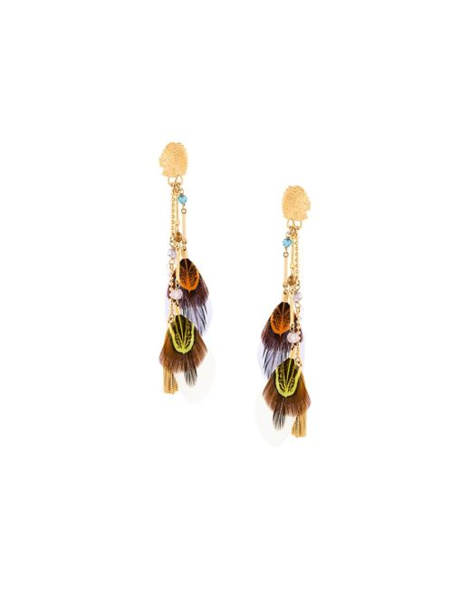 Gas Bijoux | Metallic 'sioux' Feather Earrings | Lyst