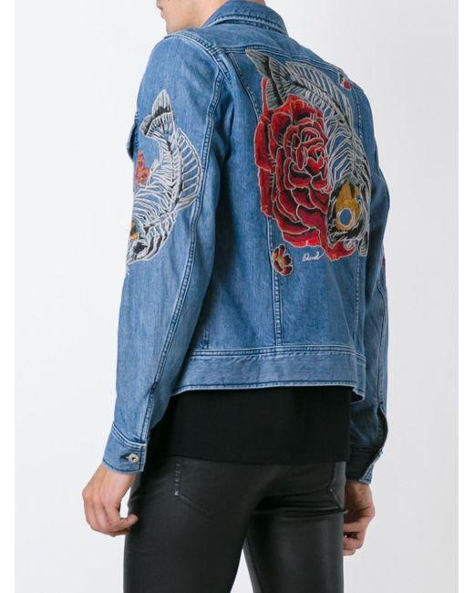 Diesel Blue Embroidered Denim Jacket In Blue For Men