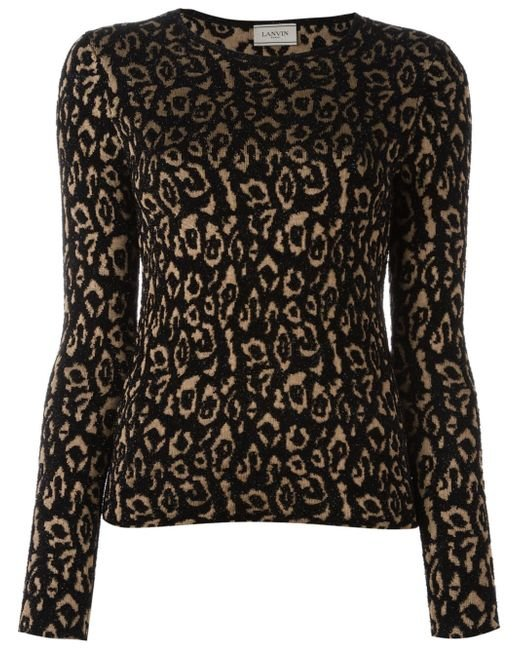 Leopard Knitting Pattern : Lanvin Leopard Pattern Knit Top in Beige (BLACK) Lyst