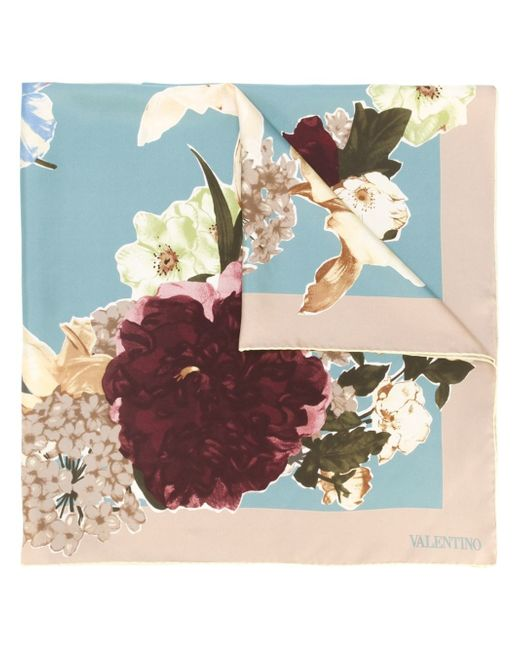 Valentino | Blue Watercolor Roses Printed Scarf | Lyst