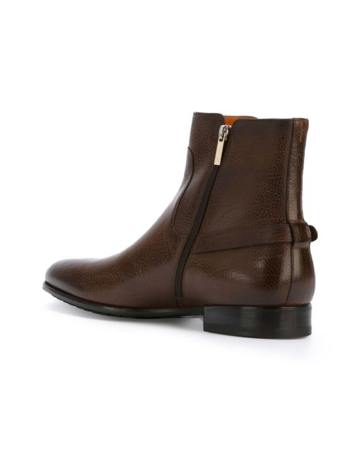 santoni buckle ankle boots in brown for lyst
