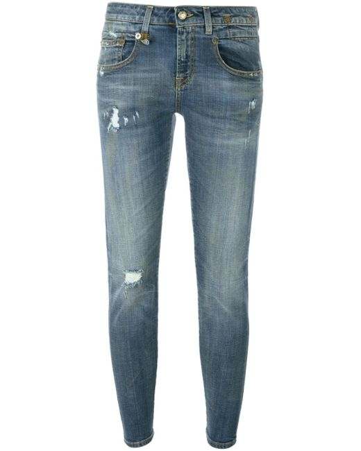 R13 | Blue Distressed Jeans | Lyst