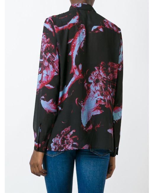 Diesel fish print crepe shirt in black lyst for Fish print shirt