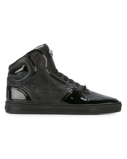 Versace 'Greca' Embossed High-Top Sneakers in Black for Men | Lyst