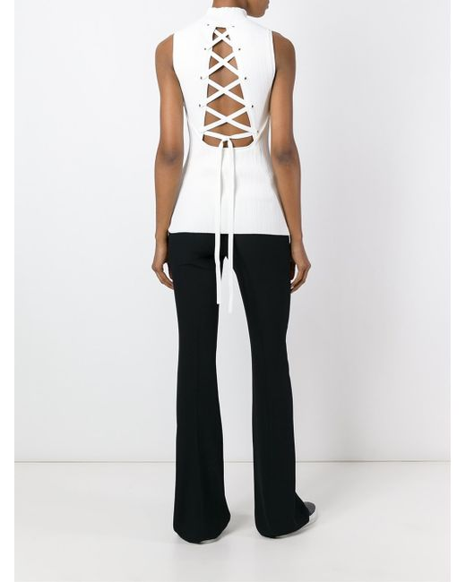 Proenza schouler lace up back tank top in multicolor white lyst