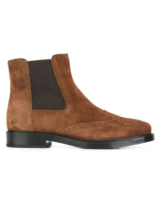 tod s brogue detailing ankle boots in brown lyst