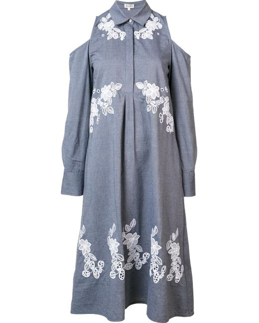 Suno | Gray Cut-out Shirt Dress | Lyst