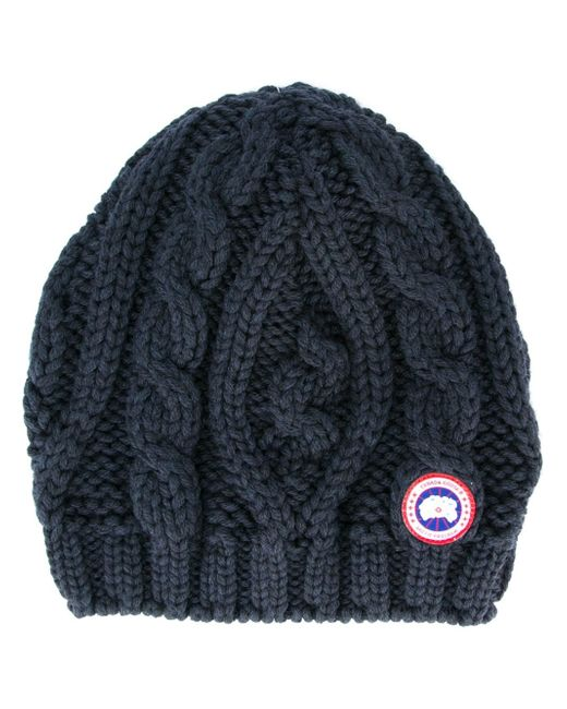 Canada Goose Chunky Cable Knit Beanie Hat In Blue For Men