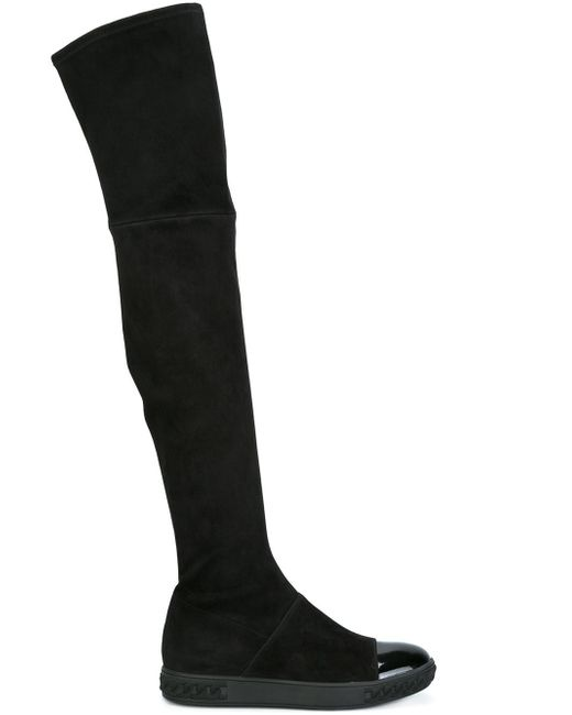 Casadei | Black Thigh-length Flat Boots | Lyst