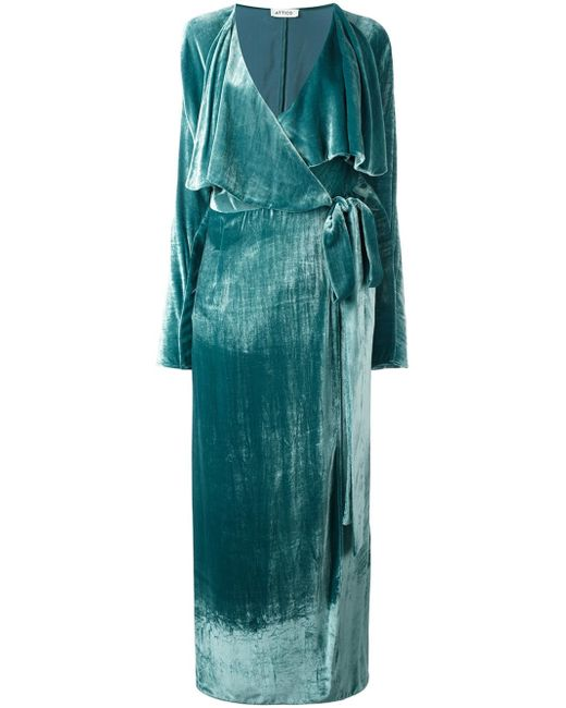 Attico Long Sleeved Velvet Wrap Dress In Green Lyst