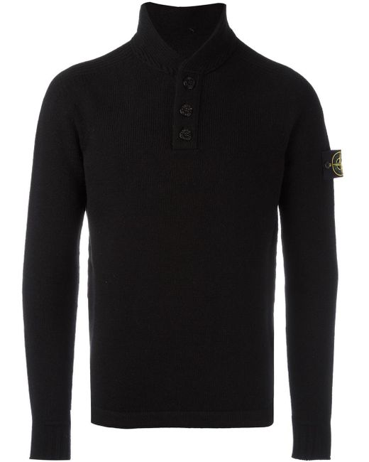 Stone island Buttoned Neck Jumper in Black for Men - Lyst