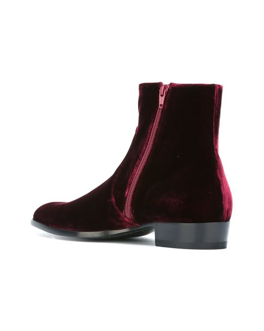 Saint Laurent Deven Velour Ankle Boots In Red For Men Lyst