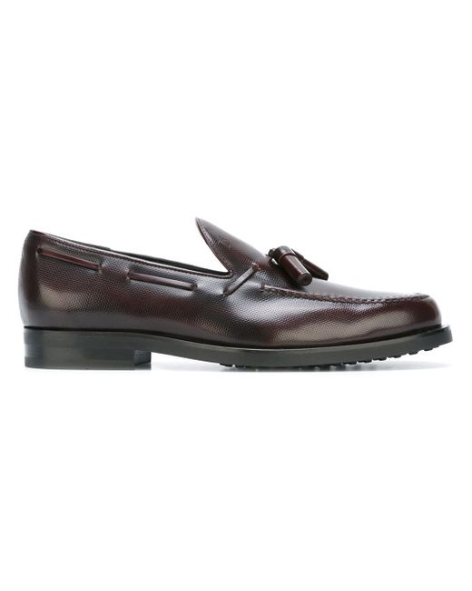 tod s tassel boat shoes in brown for lyst