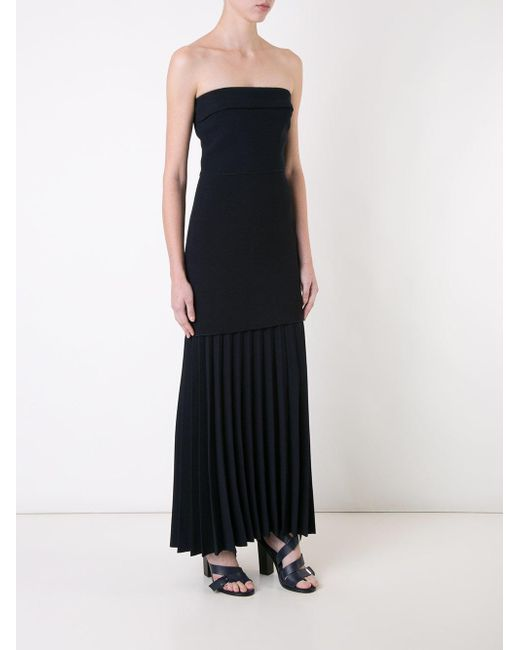 Dion lee Linear Pleated Strapless Dress in Blue | Lyst