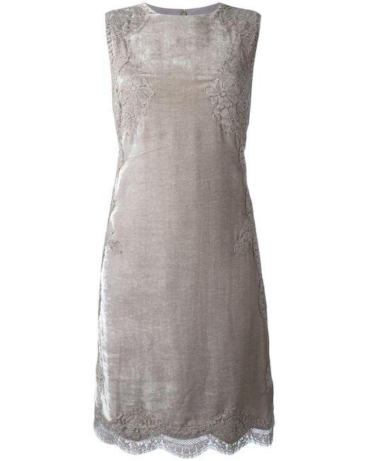 Alberta Ferretti   Gray Lace Detailing Dress   Lyst