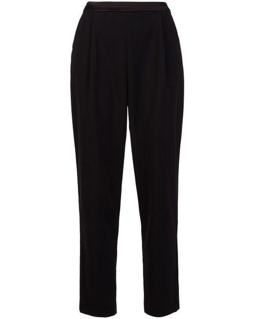 Alice + Olivia | Black Satin-trimmed Crepe Wide-leg Pants | Lyst