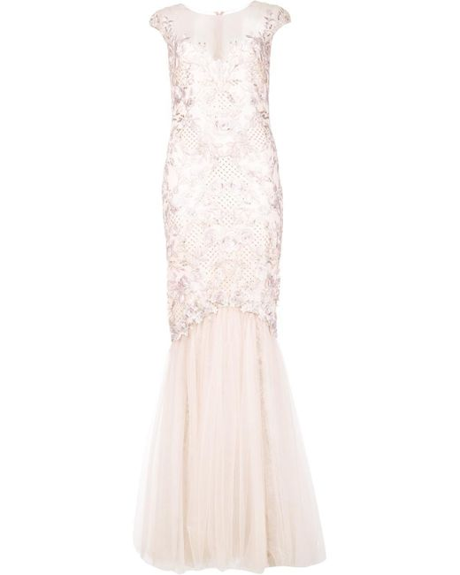 Notte by Marchesa | Pink Embroidered Gown | Lyst