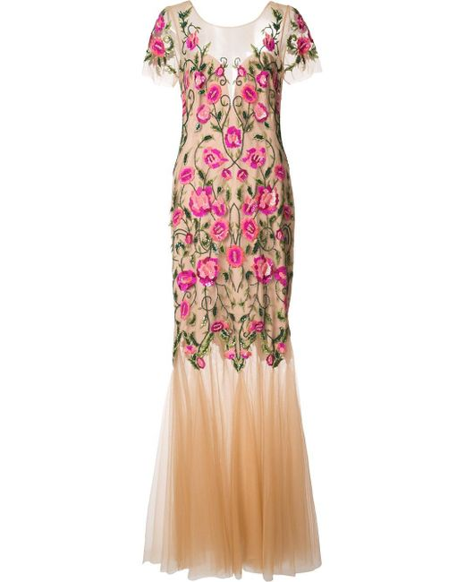 Notte by Marchesa   Pink Floral Embroidery Dress   Lyst