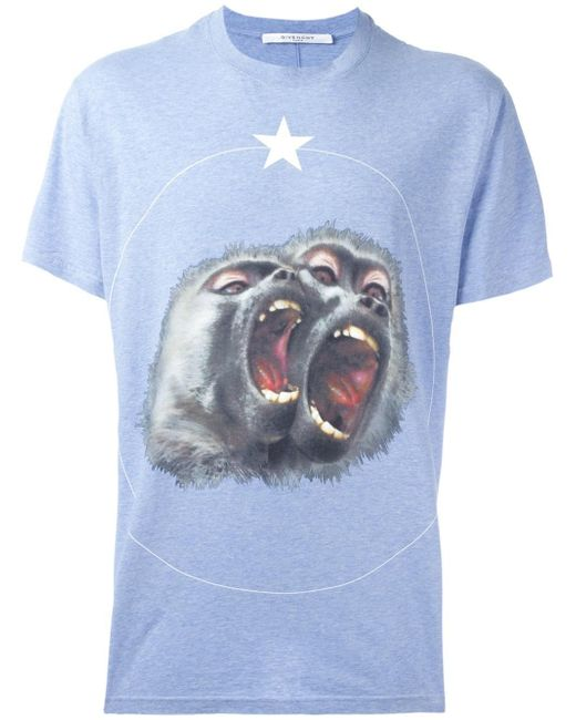 Givenchy monkey brothers printed t shirt in blue for men for Givenchy t shirts for sale