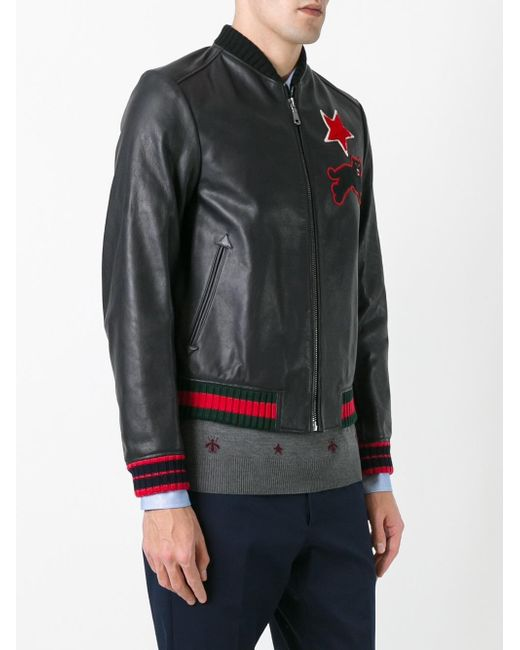 Gucci Embroidered Leather Bomber Jacket In Black For Men